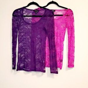 Lot of 2 long-sleeved lace tops! Size:M